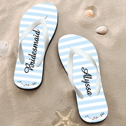 Customizable designer heat transfer printing wholesale summer beach wedding party slippers womens black flip flop