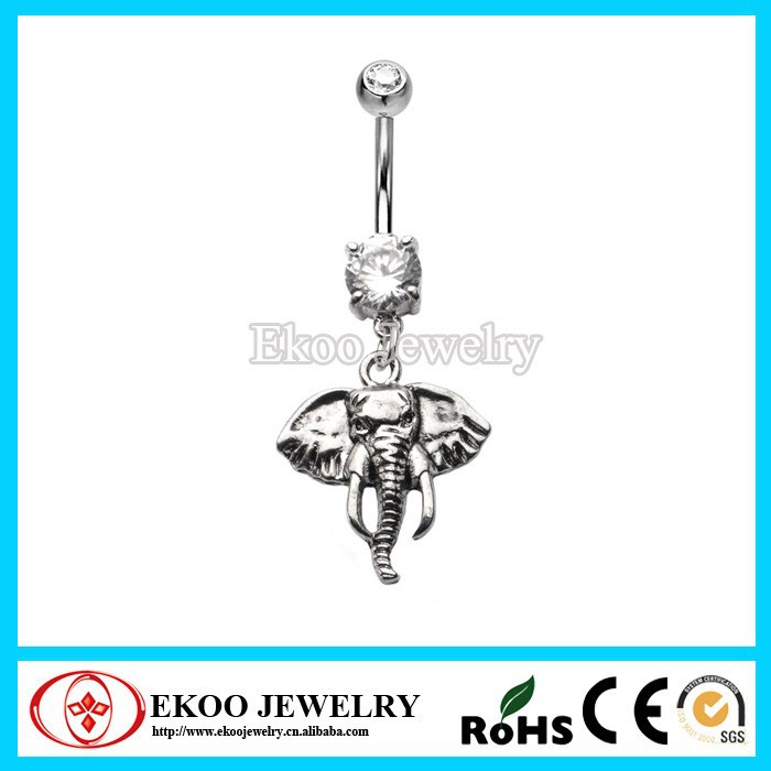316L Surgical Steel CZ Crystal Elephant Navel Belly Ring
