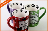 2015 Japanese fashion style white print cute cat ceramic coffee mug with handle for low price