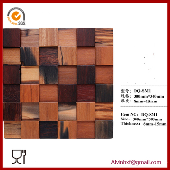 China manufacture mixed rustic wood mosaic tile barroom wall decoration