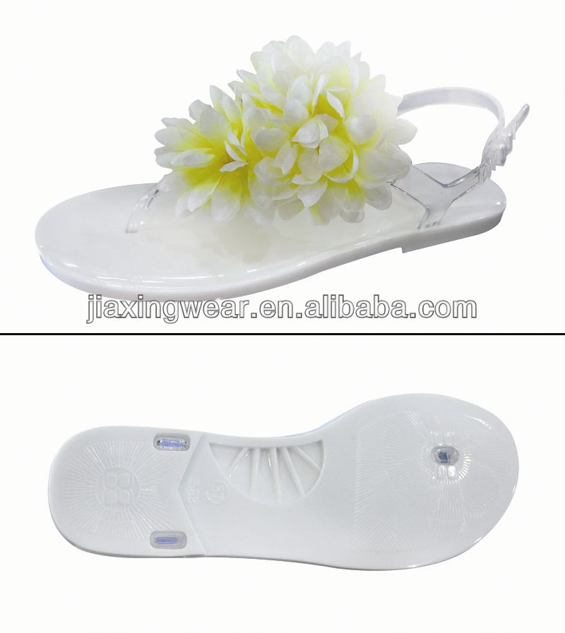 Hot sales 2014 Fashion clear pvc jelly flocking sandals for footwear and promotion,good quality fast delivery