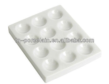 12 Holes White Porcelain Glazing Spotting plates from professional factory