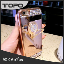 Fashion luxury mirror Diamond ring stand Bling Electroplating Mirror Clear TPU Phone Case for iphone 5 6 7 plus