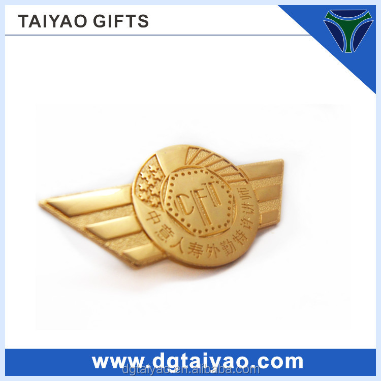 High quality Gold plated Metal security badges with wing
