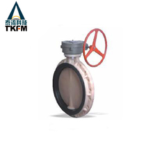 "Hot sale 4"" flange wafer type sandwich type manual gearbox butterfly valves"