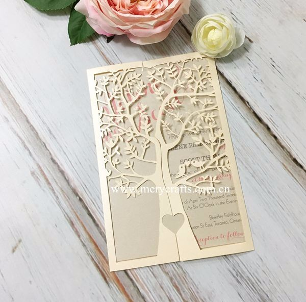 Indian wedding invitation card wholesale laser cut tree invitation cards for party decoration