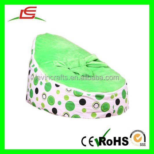 E154 Canvas Green White Zipper Baby Bean Bag