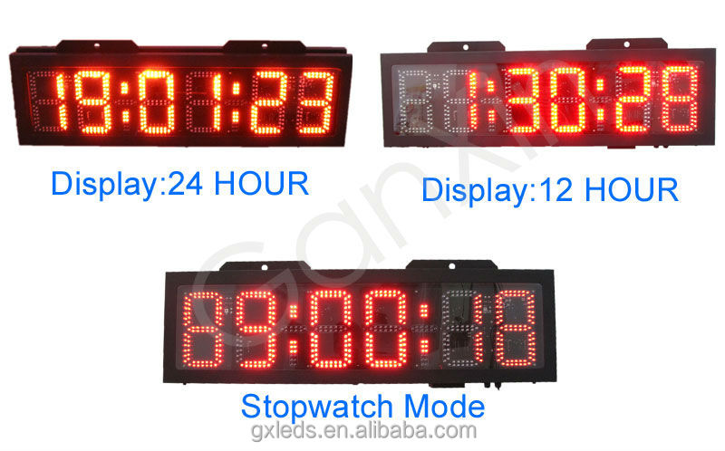 "led sport digital clock 8"" ski race timing led time clock display"