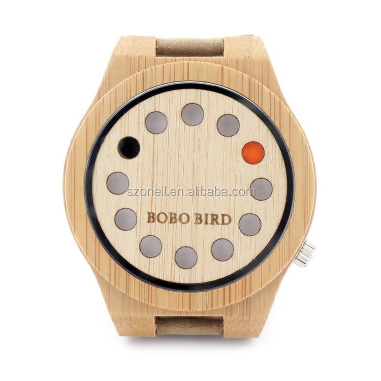 ounier Brand 12 Holes Design Wooden Watches Top-Quality leather Wood Quartz Watches