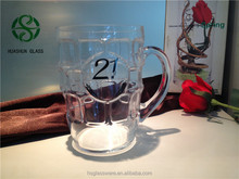 man blown beer glass mug /beer glass with decal ,glass mug, beer glass for birthday party