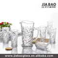 Hot sale 7pcs glass drinking set clear glass water jug set with wooden lid