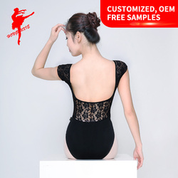 wholesale Adult sexy Lace Back Lace short-sleeved Performance Ballet Leotard gymnastic leotard5802