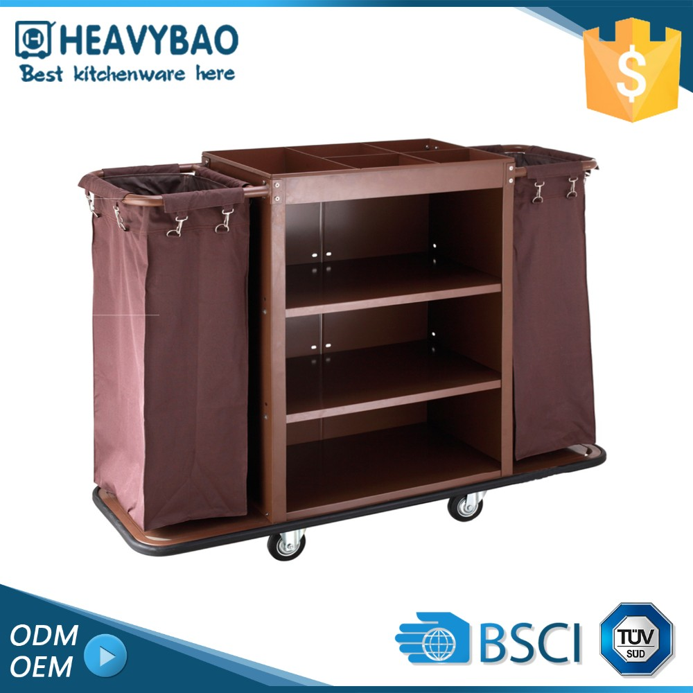 Highest Level Knocked-down Hotel Room Service Housekeeping Cleaning Trolley Janitor Cart
