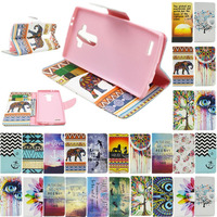 Practical Card Holder Flip Wallet Case Cover Printed Leather Stand Hybrid For LG Cell Phones