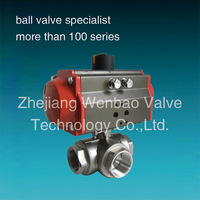 "CF8M 1000PSI(wog) Pneumatic /Electric Actuated 3 way ball valve 21/2"" 3"" 4 inch /Stainless steel three 3-way ball valve"