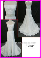 2014 guangzhou real sample sequin lace slim A-line wedding gowns/bridal dress with heavy crystal beading belt/sash 17635