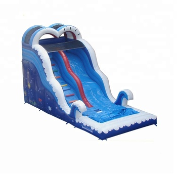 Funny Games High Quality Blue Sea World Inflatable Water Slide For Kids And Adults