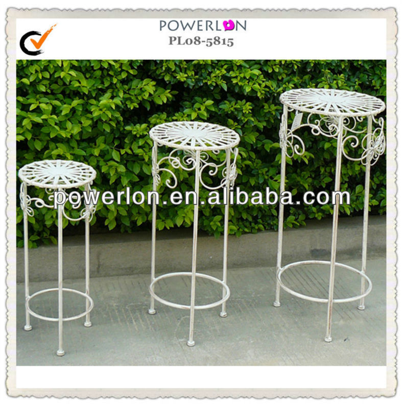 Vintage style antique white outdoor garden metal flower pot stands
