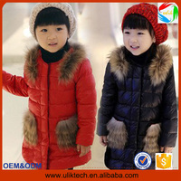 2015 Wholesale down filled winter jacket kids long feather warm child clothes for snow weather winter coat girl (ulik-J009)