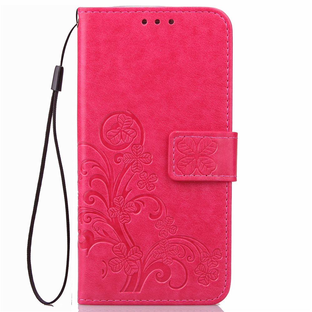 Embossed Lucky Clover Retro Flip Bracket Leather Phone Case For ZTE Warp 7