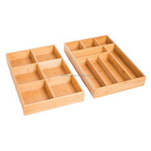 Eco-friendly Bamboo Utensil Tray,Durable and Adjustable Cutlery Drawer Organizer,Nice Flatware Holder