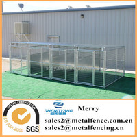 5'X10' metal tube dog kennel with roof shelter& fight guard divider and 4 dog runs
