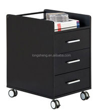Movable 3 Drawer Office Wooden File Cabinet With Wheels
