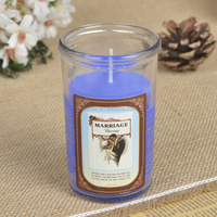 In Stock exporters Small Glass Candle With Variety of Designs Saints Picture