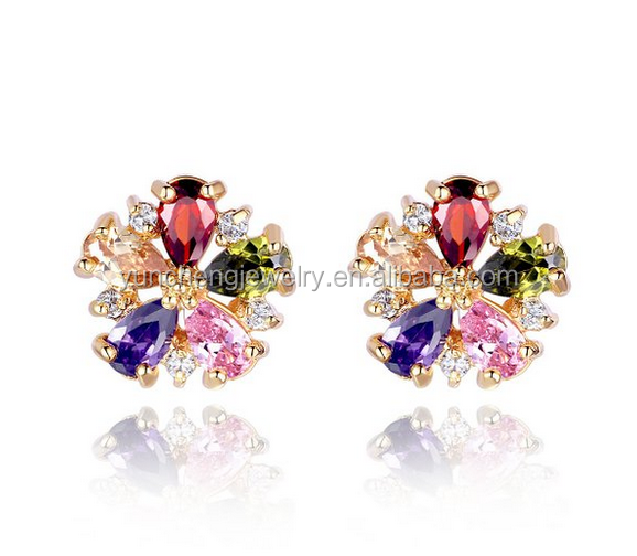 YCE6555 Rose Gold Plated Multi Color CZ Stud Earring