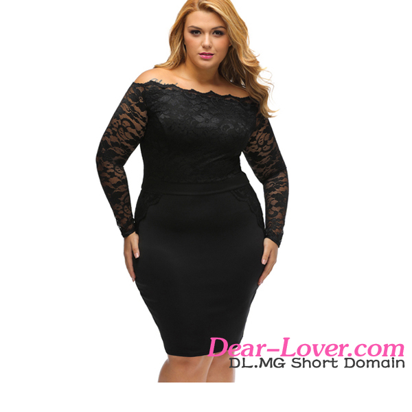 Dear-lover open sexy girl full photo Black Off Shoulder Plus Lace Dress dropshipper clothing