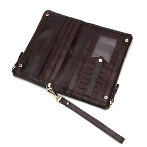 China Wholesale Customized 9034 Fashion Zipper Up Genuine Cow Leather Anti Theft Long Wallets For Men