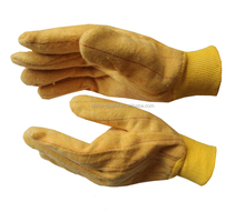 Yellow Chore Knit Wrist Cotton Canvas Double Palm Glove Pair