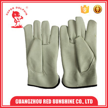 White industrial drivers leather car driving gloves