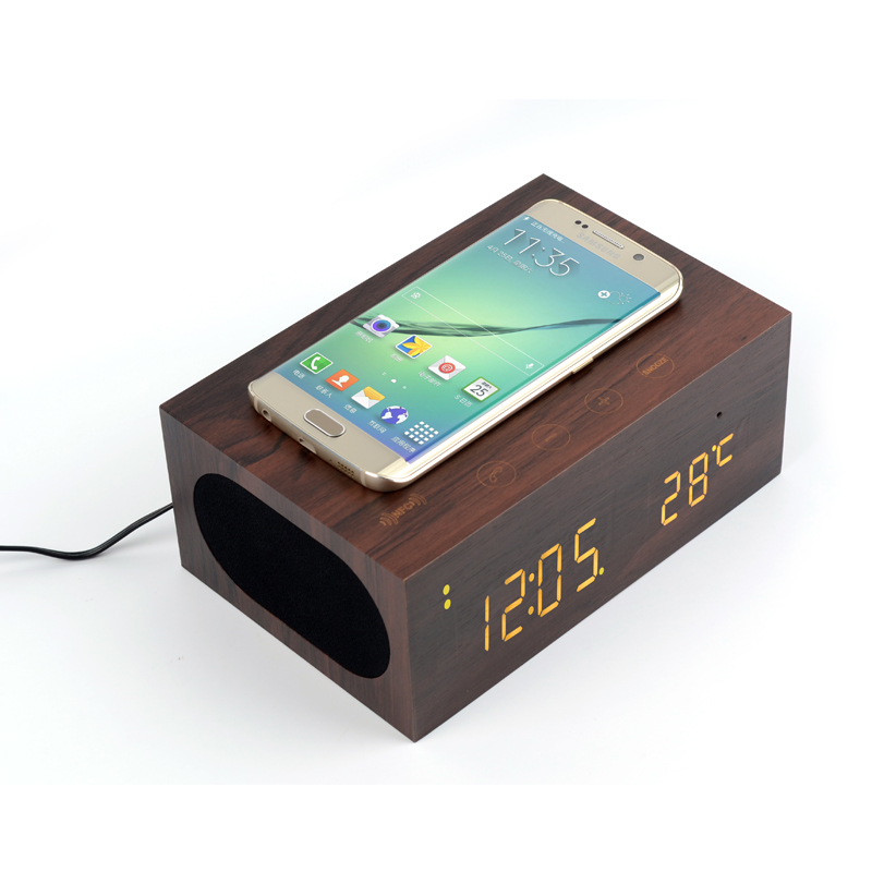 QI Wireless Phone Charger wooden Bluetooth Wooden Subwoofer Speaker with alarm clock nfc flexible touch screen led display