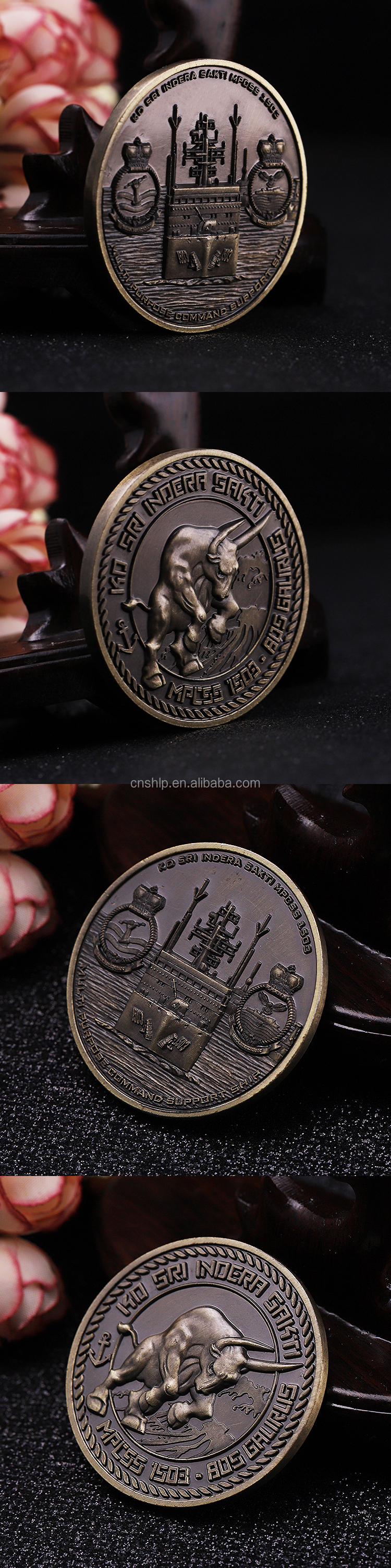 Top selling make your own 3d bull metal military coin