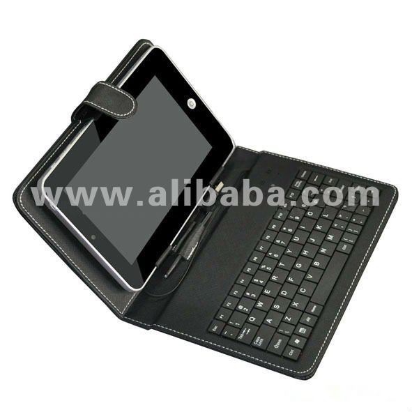 "PU Leather Portfolio Case with Mini USB Keyboard for 7"" Tablet PC"