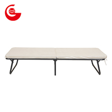 Flexible metal frame single portable folding bed with mattress