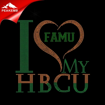 Hotfix  Rhinestone Transfer I love my FAMU  Iron On Transfer designs for T-shirt wholesale