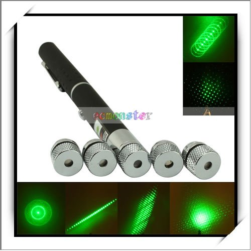 Wholesale 5 in 1 532nm 5mW Green Laser Pointer (five head)