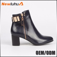 2017 new design wholesale leather ladies winter boots