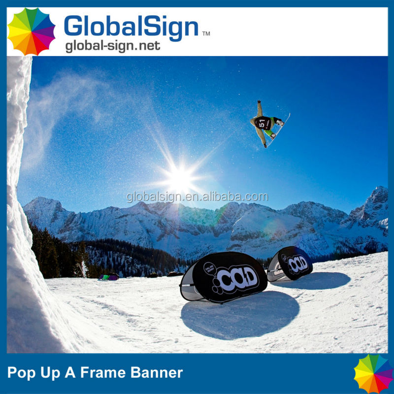 Outdoor oval pop up banners