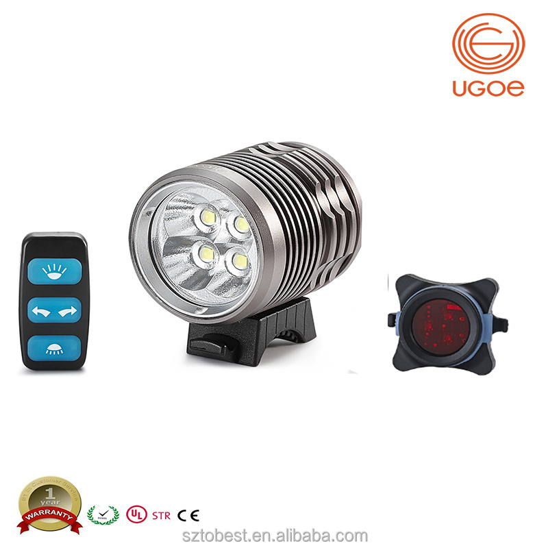 UGOE powerful bicycle front light 3000 lumens remote control mountain led bike light set
