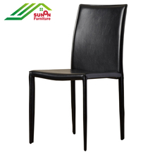Hot sale French elegant stackable fabric cafe chair metal dining room table chair