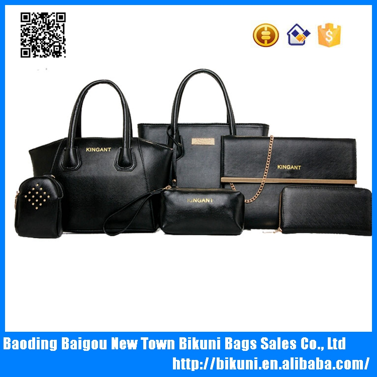 High quality hot sale newest designer fashion bags set 6 pcs lady handbag made in PU , from China