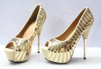 2016 golden ladies high heel wedding shoes