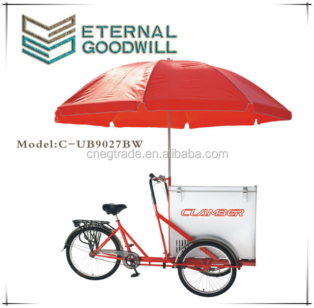 CE 3 wheels single speed bikes ice cream bicycle tricycle cargobike/cargo bike/bicycles/bisiklet UB-9027BW wholesale china bike