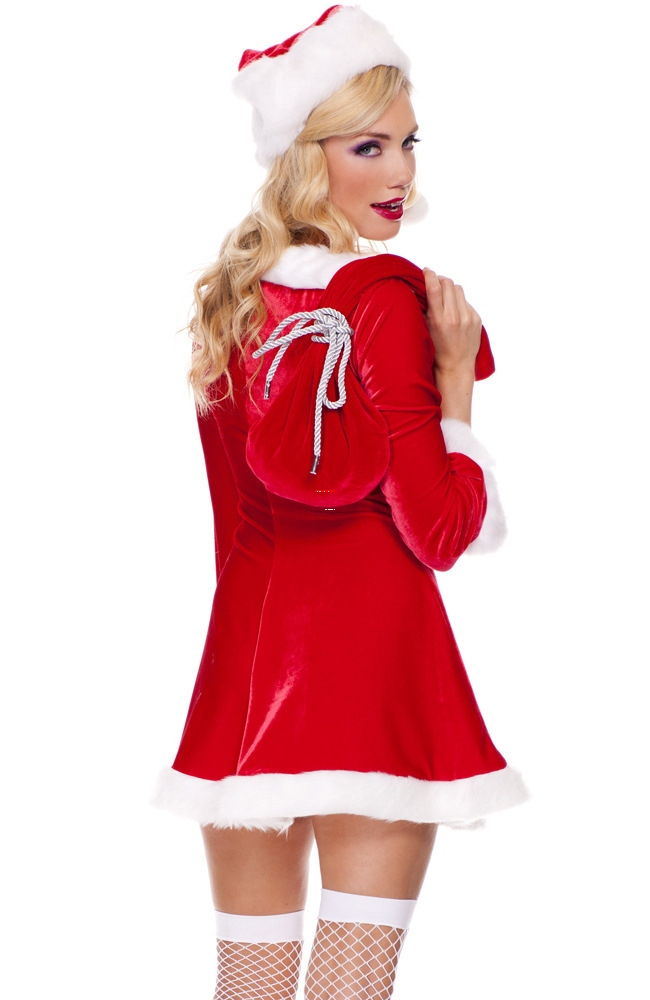 2016 Fashion Christmas Costumes Women High Quality Sexy Festive Sleigh Belle Santa Costume Fancy Dress Red Cosplay Costumes