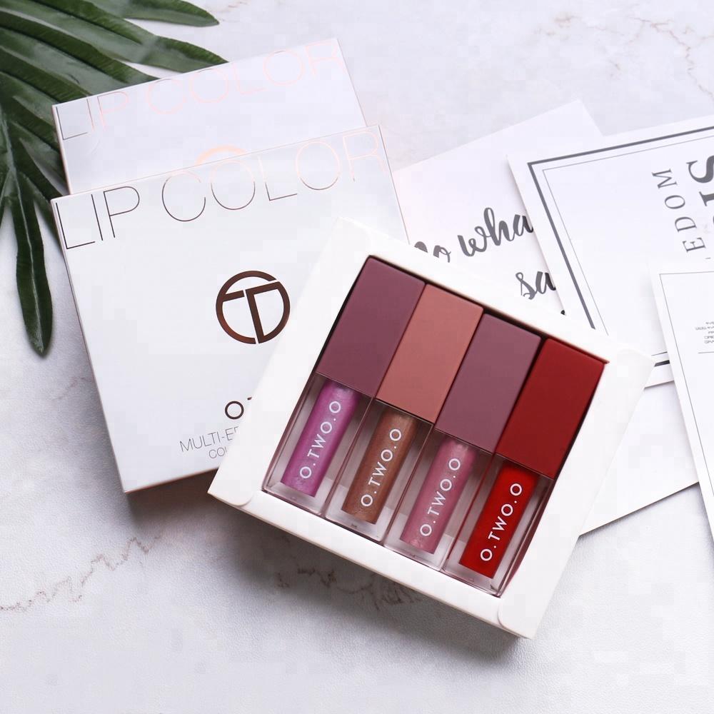 O Makeup Multi-effect Glitter Lipgloss Matte Liquid Lipstick 4pcs set Free  Shipping 1371389ad111