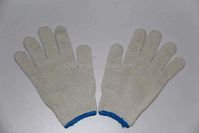 7/10 gauge white knitted cotton gloves manufacturer in china/keep warm glove