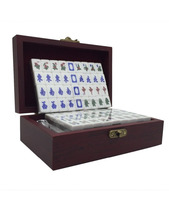 Chinese mini mahjong game travel set wooden game box